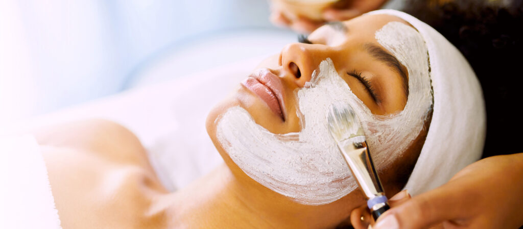 Shot of a young woman getting a facial at Haven spa